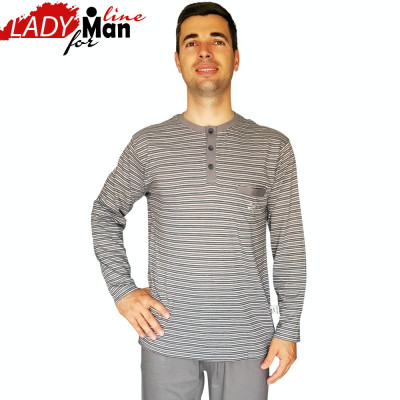 Pijama Barbati Din Bumbac Obtinut Din Fibre Naturale,Model Gray Victory,Cod 1325 foto