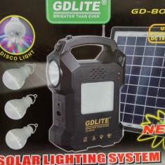 Kit Panou Solar GD-8025 Acumulator 12V, 5 Becuri LED USB Radio MP3 panou mare