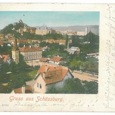 3929 - Litho, Mures, SIGHISOARA - old postcard - used - 1901 - Carte Postala Transilvania pana la 1904, Circulata, Printata