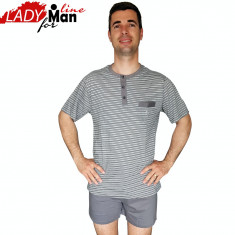 Pijama Barabati Maneca/Pantalon Scurt, Model Short Gray Victory, Cod 1334