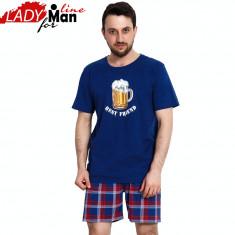 Pijama Barbati Maneca/Pantalon Scurt, Model Beer Best Friend, Vienetta, Cod 1277