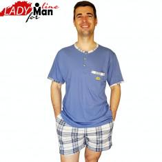 Pijamale Barabati Maneca/Pantalon Scurt, Model Short Statute, Bumbac, Cod 1333 - Pijamale barbati, Marime: L, XL, XXL, Culoare: Albastru