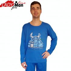 Pijama Barbati Maneca/Pantalon Lung, Model Got Milk, Brand Dehai-T, Cod 756 - Pijamale barbati, Marime: XXL, Culoare: Albastru