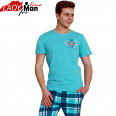 Pijama Barbati Maneca Scurta/Pantalon 3/4, Model WoodWorker, Vienetta, Cod 1190