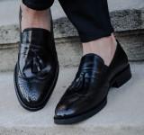 Pantofi eleganti din piele naturala Exclusive Loafer COD: TOP-2. NEW COLLECTION, 43, Negru
