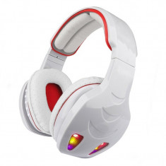 Casti wireless cu bluetooth STN-08L, LED, Alb/Rosu, Casti Over Ear
