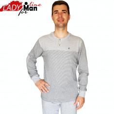 Pijama Barbati Din Bumbac Obtinut Din Fibre Naturale,Model Gray Melange,Cod 1324, Gri, M, XL