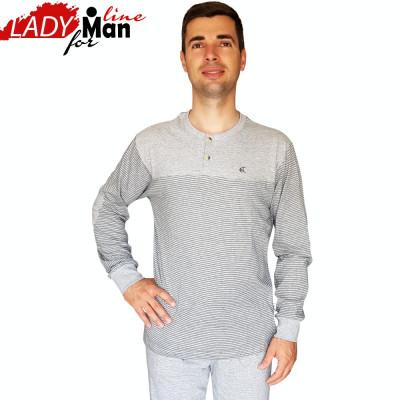 Pijama Barbati Din Bumbac Obtinut Din Fibre Naturale,Model Gray Melange,Cod 1324 foto