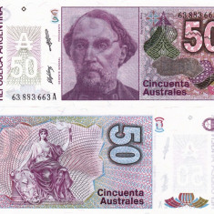 ARGENTINA 50 australes ND 1986-89 UNC!!! - bancnota america