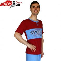 Pijama Barbati Maneca/Pantalon Scurt, Model Sport Truck, Baki, Cod 419 - Pijamale barbati, Marime: S, Culoare: Din imagine