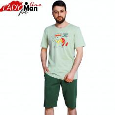 Pijama Barbati Maneca/Pantalon Scurt, Model Survivor, Brand Vienetta, Cod 1211