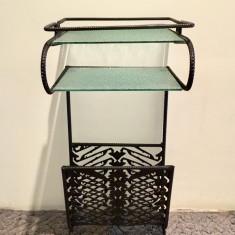 Masa din sticla si fier forjat