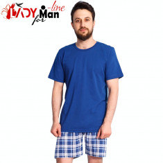 Pijama Barabti Maneca/Pantalon Scurt, Model Blue Classic, Vienetta, Cod 1348