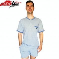 Pijama Barbati Maneca/Pantalon Scurt, Model Short Deep Gray, Senso, Cod 1332 - Pijamale barbati, Marime: M, L, XL, XXL, Culoare: Gri