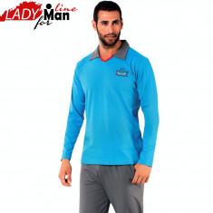 Pijama Barbati Maneca/Pantalon Lung, Model Sport & Elegant Blue, Donex, Cod 1040 - Pijamale barbati, Marime: M, L, XL, Culoare: Albastru