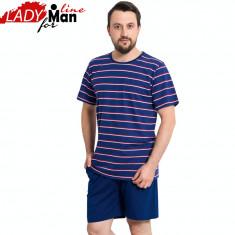 Pijama Barbati Maneca/Pantalon Scurt, Model Blue Summer, Vienetta, Cod 1131