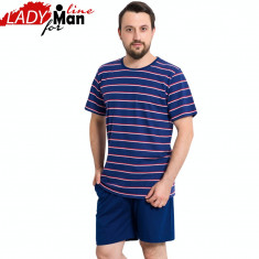 Pijama Barbati Maneca/Pantalon Scurt, Model Blue Summer, Vienetta, Cod 1131 - Pijamale barbati, Marime: L, XL, Culoare: Albastru