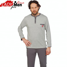 Pijamale Barbati Din Bumbac Natural, Model Gray The Great Victory, Cod 1228, Gri, M