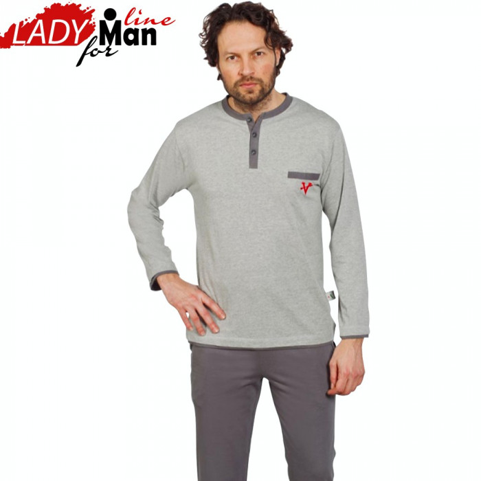 Pijamale Barbati Din Bumbac Natural, Model Gray The Great Victory, Cod 1228