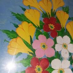 Tablou vechi pictat,pictura veche cu rama,pictor TOLEA, Flori, Ulei, Realism