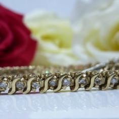 Bratara aur 14k cu diamante, Culoare Aur: Galben