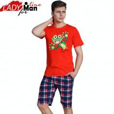 Pijama barbati Maneca Scurta/Pantalon 3/4, Model Crazy Frog, Bumbac, Cod 1162