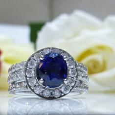 Inel aur 14k cu diamant si safir - Inel diamant, Culoare: Alb