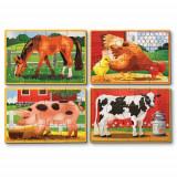 Set 4 Puzzle Lemn in Cutie - Animale Domestice, Melissa & Doug