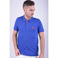 Tricou Polo Bumbac Selected Aro Embroidery Albastru