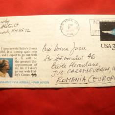 Aerograma SUA, Mark Twain si Cometa Halley circ.New York-Baile Herculane -1985