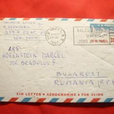 Aerograma SUA, 1961 New York- Bucuresti