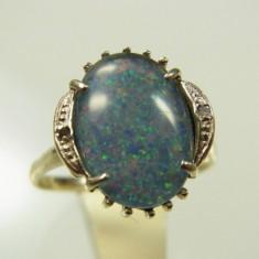 Inel Aur Alb 14k Piatra Opal Diamante Mici Anul 1970 Reducere - Inel diamant