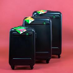 Set 3 valize tip troler BENETTON - Geanta Dama Benetton, Culoare: Negru, Marime: One size