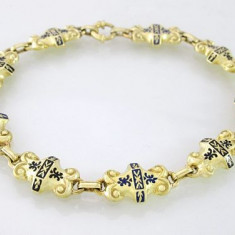 Bratra Superba Vintage Aur 14k Emailata Unikat Lucrat Manual - Bratara aur, Culoare Aur: Galben