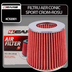 Filtru aer conic sport 4Cars - Crom/Rosu Profesional Brand - Filtru aer sport