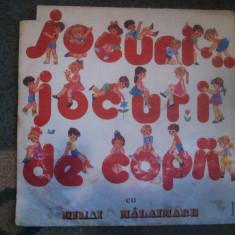 Jocuri de copii cu Mihai Malaimare disc vinyl lp Muzica pentru copii electrecord cor cantece, VINIL