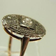 Inel Art Deco Aur 18k Montura Platina Si Diamant - Inel platina