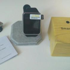 Ceas inteligent cu telefon smart watch cartela sim Eazy Case, Negru, Otel inoxidabil, 42mm, Android Wear, Apple Watch
