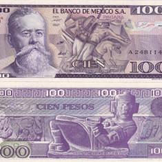 MEXIC 100 pesos 25 martie 1982 - seria VJ UNC!!!