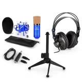 AUNA CM001BG V1, set de microfon, microfon condensator cu adaptor USB, căști, suport de microfon, culoare albastră
