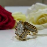 Inel aur 14k cu diamante - Inel diamant, Culoare: Galben