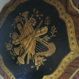 Masa superba, Ludovic IV, lemn, intarsii, bronz, stare buna