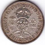 Marea Britanie Anglia FLORIN TWO SHILLINGS 1945 argint 11,3 gr, Europa