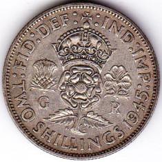 Marea Britanie Anglia FLORIN TWO SHILLINGS 1945 argint 11, 3 gr, Europa