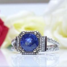 Inel aur 14k cu diamante si safir - Inel diamant, Culoare: Alb