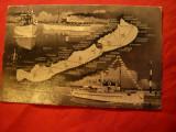 Ilustrata Lacul Balaton-Harta si Nave de Pasageri 1957- Turism, Circulata, Fotografie