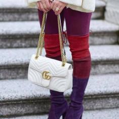 GENTI GUCCI/ITALIA/ALB IMACULAT/CALITATE GARANTATA/LOGO METALIC AURIU - Geanta Dama Gucci, Marime: Marime universala