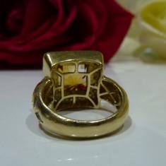 Inel aur 14k cu diamant si citrine, Culoare: Galben