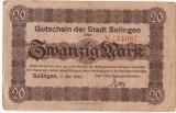 GERMANIA STADT SOLINGEN 20 MARK 1920 U
