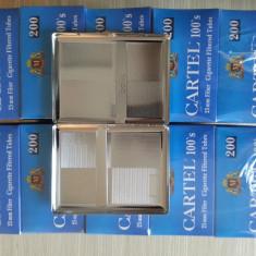 CARTEL BLUE 100's 200 - 2000 buc + o tabachera metalica pentru tuburi 100's - Foite tigari